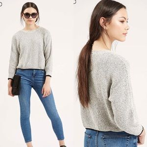 Topshop gray cropped sweater with black trim